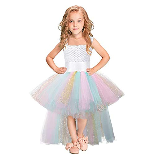Girls Tutu Dress for Birthday Party Special Occasions (Rainbow, 5-6T)]()