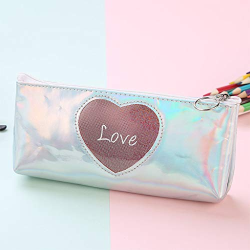 Flurries PU Leather Laser Heart Pen Pencil Case Bag Box Pouch Holder with Zipper - Portable Shining for Stationery Supplies Make-up Cosmetic Brushes Electronic Device Accessories (Sliver) -