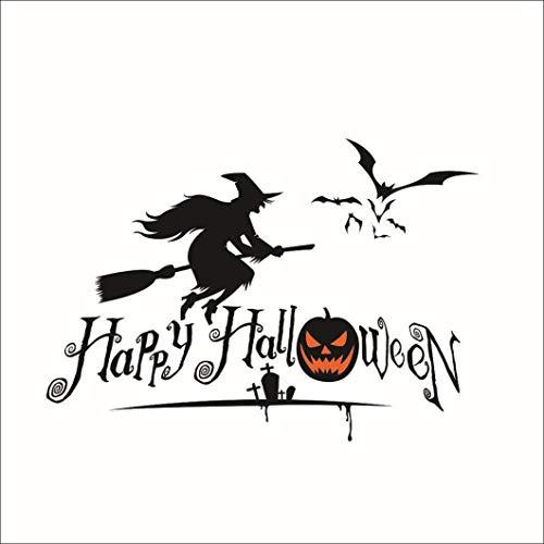 Exteren Halloween Series Witches Window Living Room Bedroom Decor Wall Stickers Party for Living Room Kitchen Bathrooms Bedroom etc (Black) -