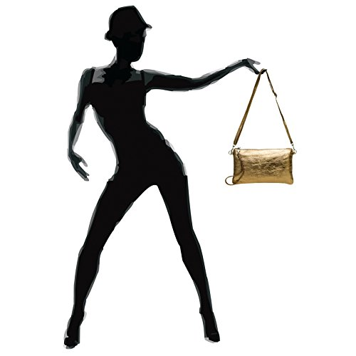 CASPAR TL717 Bolso de Mano Fiesta para Mujer / Clutch Metalizado de Cuero Genuino Bronce