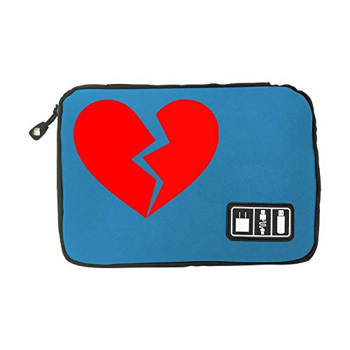 Electronic Accessories Travel Bag Broken Heart USB Flash Drive Case Bag Wallet, SD Memory Cards Cable Organizer
