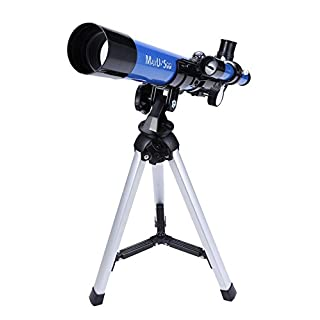 MaxUSee Kids Telescope 400x40mm with Tripod & Finder Scope, Portable Telescope for Kids & Beginners, Travel Scope with Moon Mirror, Stars & Moon map Included