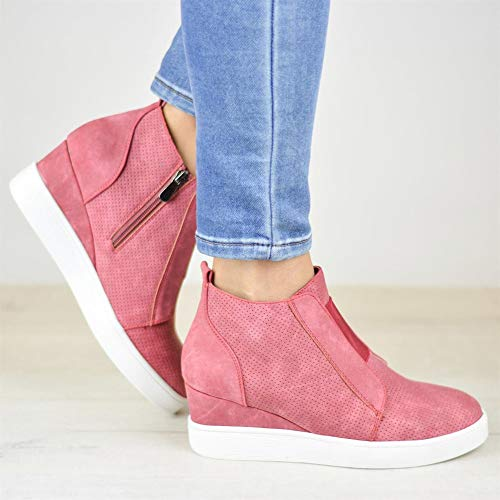 Booties Heeled Shoes Black with Flat Boots Pink 43 Ladies Women Ankle Trainers Boots Platform nbsp;Classics Winter Fashion Wedge Hidden Pink Elegant Brown Martin Zip Autumn 34 qvYCtxR