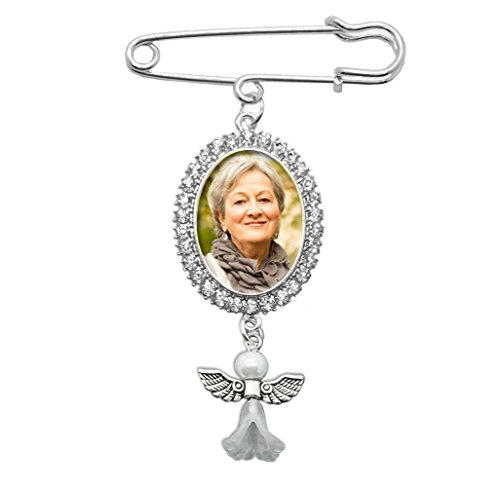 Wedding Boutonniere Angel Rhinestone Photo Charm Pin Brooch Gift for Wedding Shower Mother of Bride or Groom ()