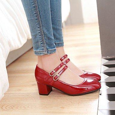 LvYuan Mujer-Tacón Robusto-Otro-Sandalias-Boda Oficina y Trabajo Vestido Informal Fiesta y Noche-Semicuero-Negro Rojo Beige Red