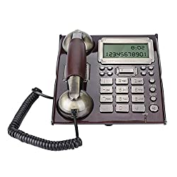 fosa European Antique Phone, Corded Vintage Retro Phone for Home Office, Table Wall Dual Use with Alarm Clock Incoming Call Display Function Decorative Fixed Telephones (Rde Peach Wood)