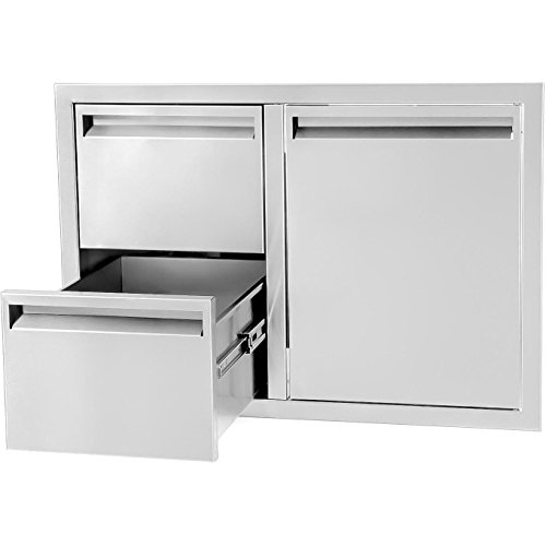 BBQGUYS Aspen Series 30-Inch Stainless Steel Right-Hinged Access Door & Double Drawer - Door Right Aspen