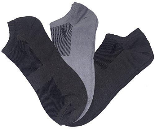 (Polo Ralph Lauren Men's 3 Pairs Technical Sport Ultra-Light Socks Peds (One size, Multigrey) )