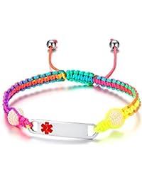 Free-Engraving Handmade Gradient Color Pull Cord Macrame Adjustable Medical Alert ID Bracelets for Kids Girls Toddler