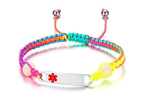 Free-Engraving Handmade Gradient Color Pull Cord Macrame Adjustable Medical Alert ID Bracelets for Kids Girls Toddler