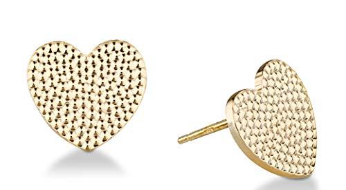 MiaBella 925 Sterling Silver Italian Sparkle Heart Stud Earrings for Women Teen Girls, Choice of Yellow or White, Hypoallergenic & Nickel Free Earrings