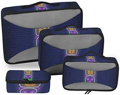 ブルーライトキュートなエルクディアベア荷物パッキングキューブオーガナイザートイレタリーランドリーストレージバッグポーチパックキューブ4さまざまなサイズセットトラベルキッズレディース