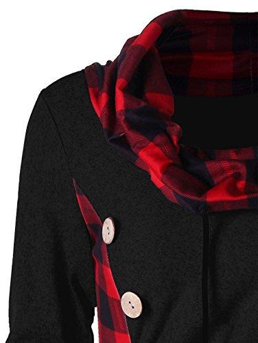 Plaid Neck Cowl s Women Black Pullover Long Sleeve and Drawstring Red Dress CharMma Mini XxRUEwqn