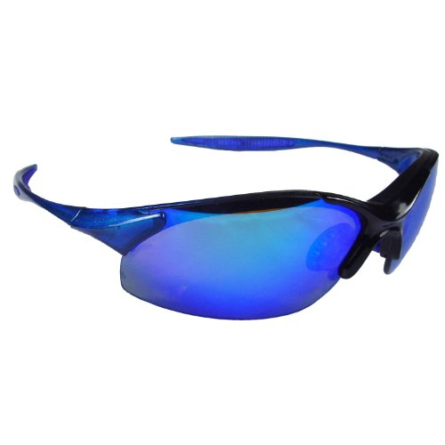 - 12 pair bulk lot Blue Mirror Lens Rad-Infinity Safety Glasses w/Neck Cord IN2-70