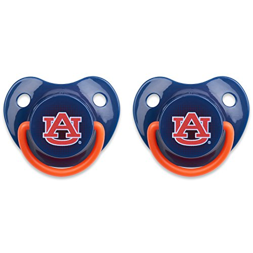 Orthodontic Pacifier | Official NCAA Auburn University Licensed Product – 2 Count (Auburn Tigers Pacifier)