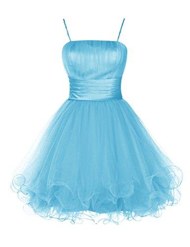 Dresstells®Vestido De Fiesta Corto Mini De Tul Con Tirantes Finos Gala De Noche Azul