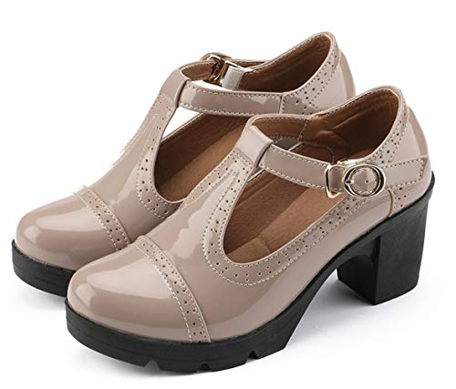 DADAWEN Women's Classic T-Strap Platform Mid-Heel Square Toe Oxfords Dress Shoes Apricot US Size ()