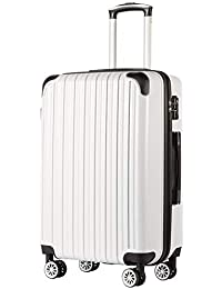 "Luggage Expandable(only 28"") Suitcase PC+ABS Spinner 20in 24in 28in Carry on (White Grid New, S(20in)_Carry on)"