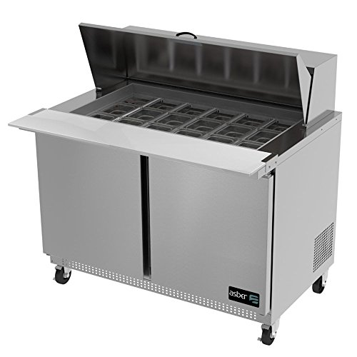 Asber APTM-48-18 Two Door 18 Pan Mega Top Sandwich / Salad Prep ()