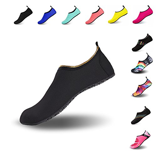 Mens Womens Water Shoes Barefoot Beach Pool Shoes Quick-Dry Aqua Yoga Socks For Surf Swim Water Sport Black.jin