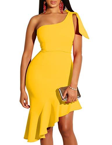 Mokoru Women's Sexy One Shoulder Sleeveless Ruffle Bodycon Midi Club Party Dress, Large, Yellow