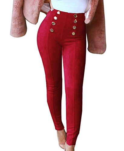 (Suede Stretch Pants Womens Ankle Length Leggings Basic Tights Wine Red)