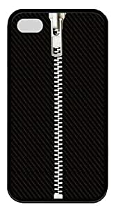 Black Cloth Zipper TPU Black Case for iphone 4S/4