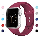 Sport Band for Apple Watch 42mm 38mm, Soft Silicone Sport Strap Replacement Bands for iWatch Apple Watch Series 3, Series 2, Series 1 42mm Wine Red Small
