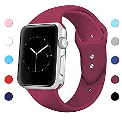 Sport Band For Apple Watch 42mm 38mm, Soft Silicone Sport Strap Replacement Bands For Iwatch Apple Watch Series 3, Series 2, Series 1 38mm Wine Red Small