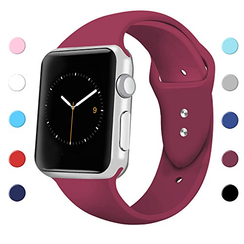 Sport Band For Apple Watch 42Mm 38Mm  Soft Silicone Sport Strap Replacement Bands For Iwatch Apple Watch Series 3  Series 2  Series 1 38Mm Wine Red Large