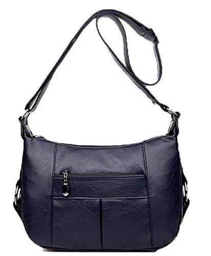 Mode Pu Foncé GMBBB180853 AgooLar bandoulière Décontractée Des à Zippers Cuir Bleu Femme sacs Sacs pqgZUx5w6n