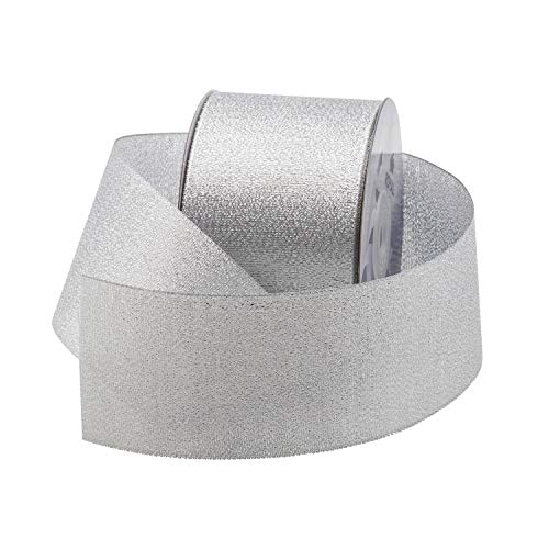 Metallic (Glitz) Fabric Ribbon for Floral & Craft Decoration, 25 Yard Roll (75 FT Spool) by Royal Imports (2-3/4 Inch, Silver)