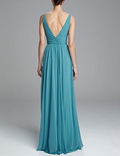 PromCC Womens V-neck Empire Evening Dress 2016 Long Bridesmaid Dresses BD36 Peacock Blue 4