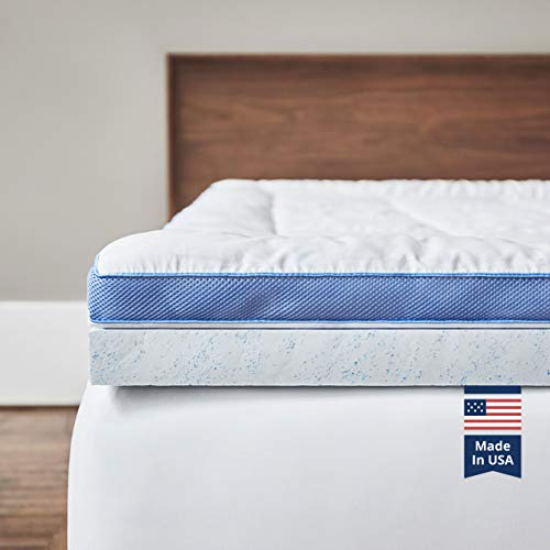 ViscoSoft Pillow Top Latex Mattress Topper Queen | Serene 3 Inch Gel Latex Mattress Pad + Premium Quilted Cover