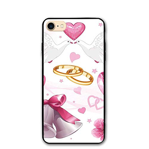 Haixia IPhone 7/8 Phone Shell 4.7 Inch Wedding Decorations Wedding Themed Artwork Invitation Announcement Hearts Rings Birds Pink White Gold