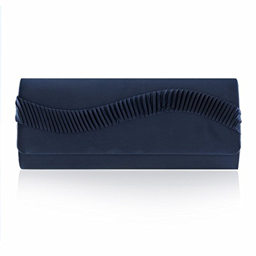 Pleated Womens Smooth Satin Blue Wave Damara Cocktai Womens Damara Handbag tUTwqfP7
