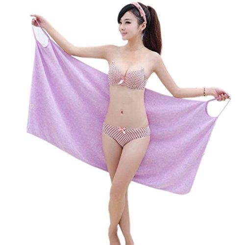 Bath Microfiber Wearable Towel Women Sexy Bathrobe Fast Dry Wash Clothing Wrap Bath Towels Robe De Plage Beach Dress Purple