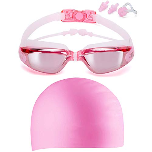 LOLOMODA Swim Goggles & Silicone Long Hair Swim Cap Set Pink, No Leaking Anti Fog UV Protection for Men Women Adult Youth Kids, Waterproof, Triathlon Goggle with Free Protection Case -