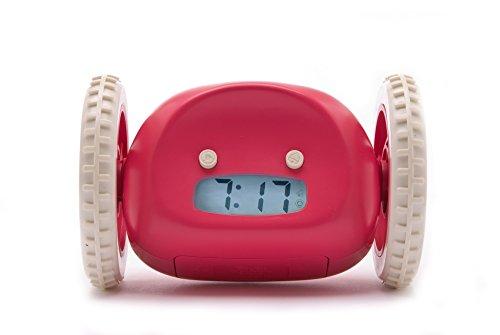 Clocky, The Original Runaway Alarm Clock on Wheels, Raspberry (Fun Alarm Clock)