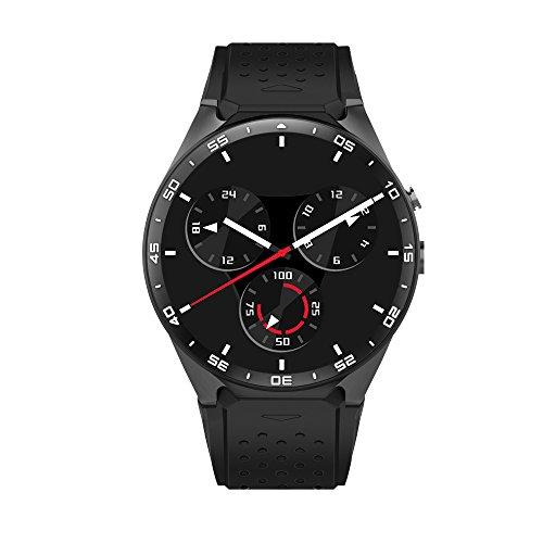 LeTech KW88 3G drahtloses intelligentes Uhr-Telefon mit WIFI GPS 5.0MP Kamera-Herzfrequenz-Monitor Viererkabel-Kern 1.39 Zoll HD runder Schirm Bluetooth V4.0 Pedometer-Schlaf-Qualitätsüberwachung Multifunktions für Andriod und ios Smartphone Uhr( Schwarz)