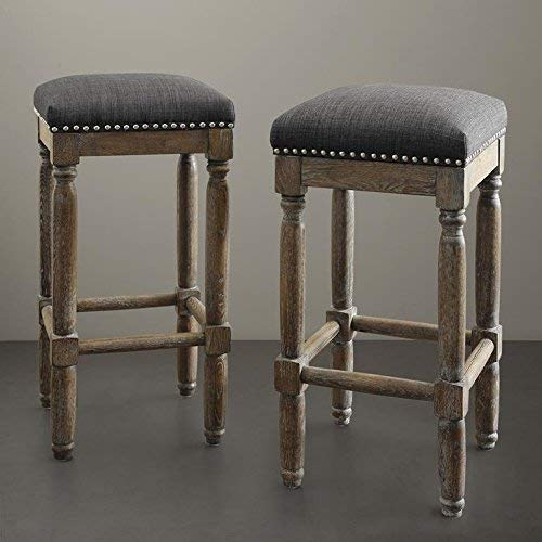 Madison Park Cirque Bar Stools - Hardwood, Faux Linen Kitchen Stool - Grey, Modern Classic Style Bar Height Stools - 2 Piece Stool Set Bar Furniture For Home