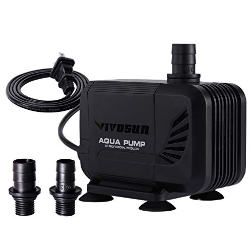 VIVOSUN 400GPH Submersible Pump(1500L/H, 15W), Ultra Quiet Water Pump with 5.3ft High Lift, Fountain Pump with 5ft Power Cord, 2 Nozzles for Fish Tank, Pond, Aquarium, Statuary, Hydroponics