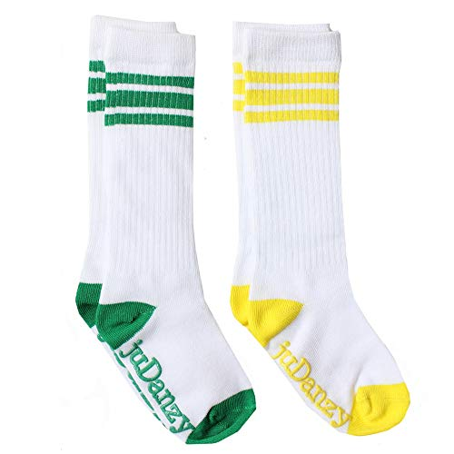 juDanzy knee high tube socks for boys, girls, baby, toddler & child (2-4 Years, White with Green and Yellow Stripes)