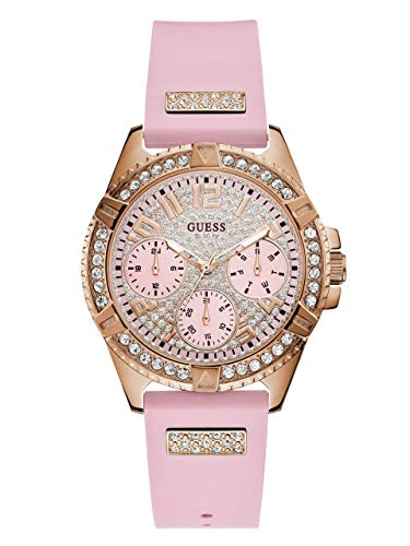 GUESS  Comfortable Rose Gold-Tone + Pink Stain Resistant Silicone Watch with Day, Date + 24 Hour Military/Int'l Time. Color: Pink (Model: - Watch Guess Pink