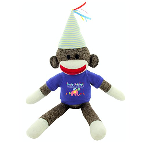 """Plushland Custom Text Sock Monkey 20"""" - Adorable Birthday Gift for Kids, Adults and Friends, Personalized Name on Its T-Shirt Best Party Gift with (Birthday Blue Stripe Hat)"""