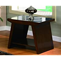 Midori Cherry Brown End Table With Glass Top By Crown Mark Furniture