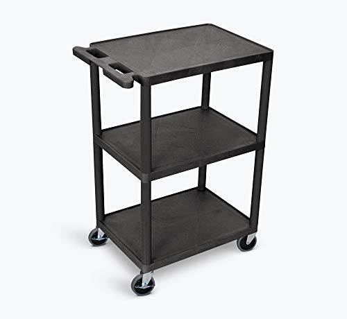 Luxor Multipurpose Three Shelves Structural Foam Plastic Storage Utility Cart - Black