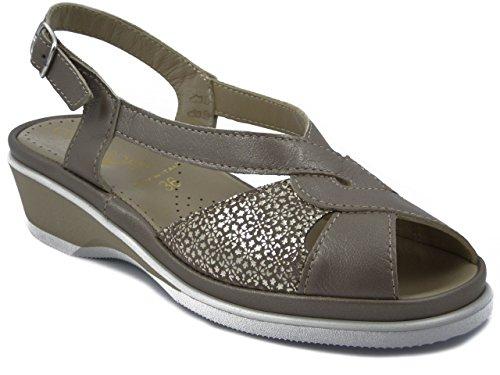 CINZIA SOFT, sandalo comfort in pelle beige tortora, zeppa 4cm, Mary E17