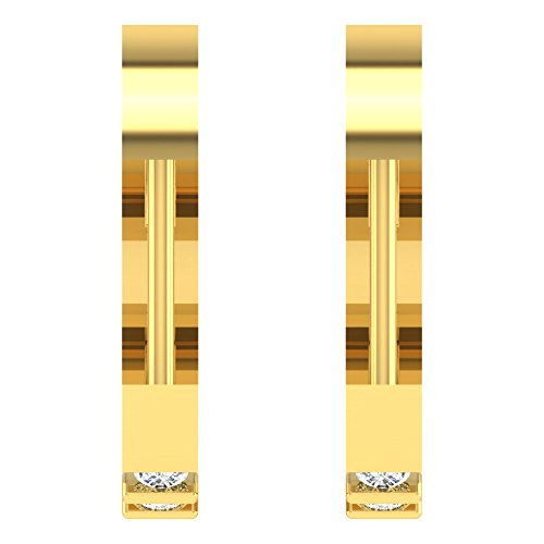 Libertini Boucle d'oreille argent 925 plaque or Jaune serti de Diamant Cerceau