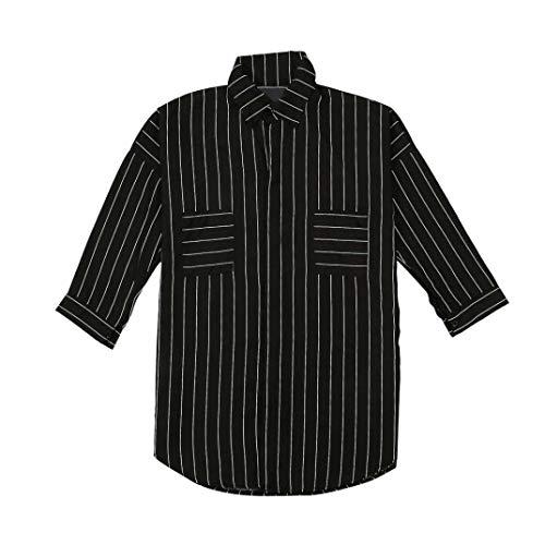 de Shirt Hiver 3 Longues rayes Femmes Occasionnelles Mode Chemisier Tailles Chemisier Femme 4 T Manches Noir Plus Couverture Collier JIANGfu Manches OL Automne wqZvEn